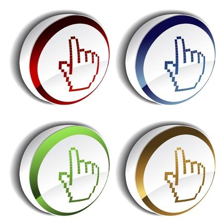 Vector pointer - cursor of hand on the button Stock Vector - 13659050