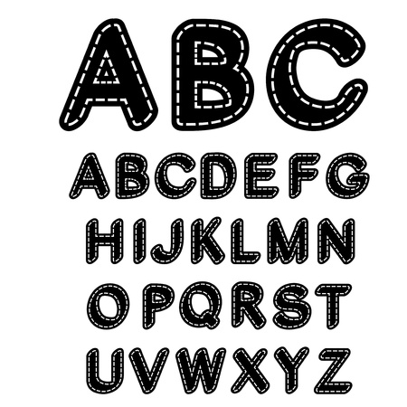 Vector black and white sewn font alphabet Illustration