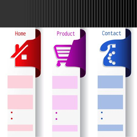 website buttons: Vector menu navigation labels - web template Illustration
