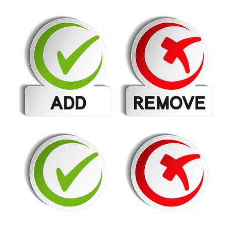 bouton ajouter: Vecteur add Supprimer l'�l�ment circulaire Illustration