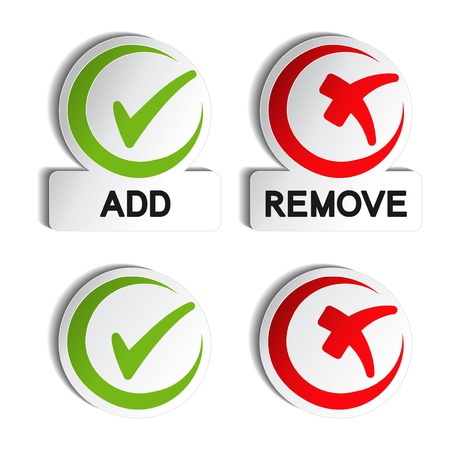 plus minus: Vector add remove circular item Illustration