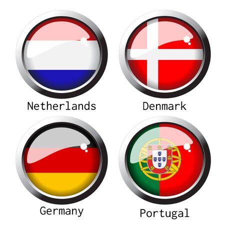 flag on football for Euro 2012 - group B Vector