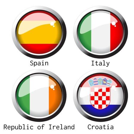 flag on football for Euro 2012 - group C Vector