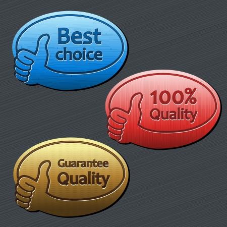 beste keuze, kwaliteitsgarantie, 100 kwaliteitslabels Stock Illustratie