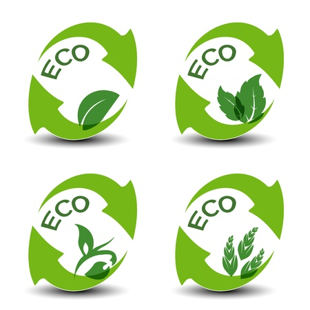 nature symbols with leaf - eco icons Stock Vector - 16785142