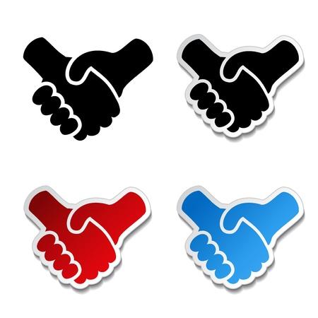 buen trato: gesto de la mano - símbolo de apretón de manos, etiqueta engomada cooperación Vectores