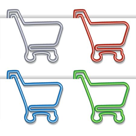 shopping cart item - shopping trolley, paper clip Vector