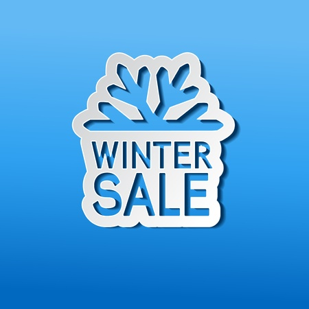 paper winter sale, sticker - Christmas offer Vector