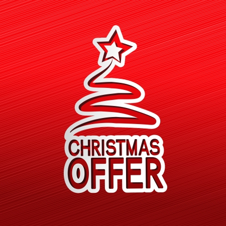 christmas bonus:  paper Christmas tree, sticker - Christmas offer Illustration
