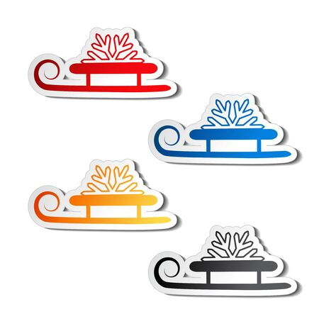 christmas sleigh:  paper sledge with snowflake, sticker Illustration