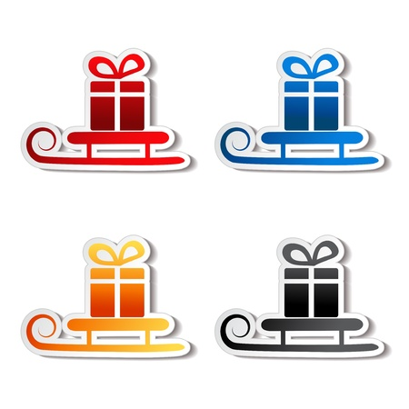 paper sledge with gift, sticker Vector