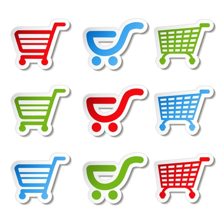 merchant:  sticker, shopping cart, trolley, item, button Illustration