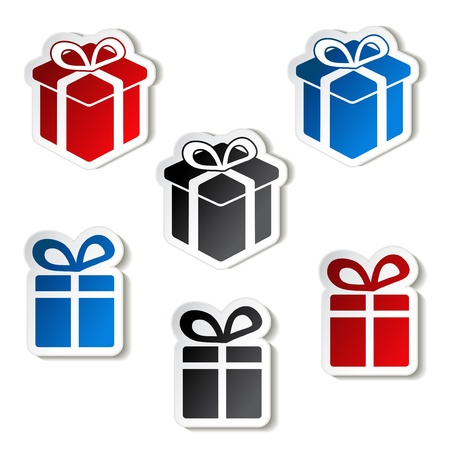 paper Christmas gift, sticker Vector