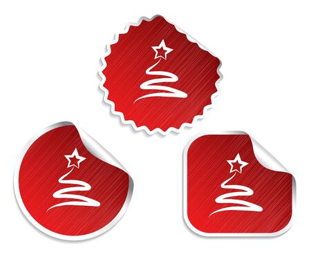 set of red Christmas stickers with tree Vector