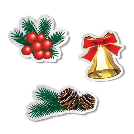 set of Christmas stickers Stock Vector - 16785218