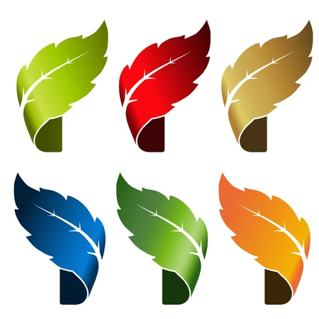 leaf - bent tape, symbol for natural product Stock Vector - 16785124