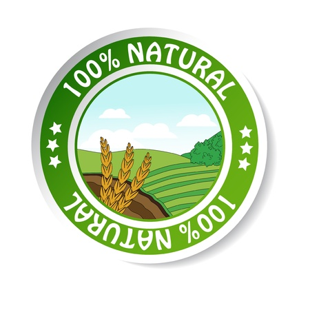 grain fields:  natural sticker, paper nature label Illustration
