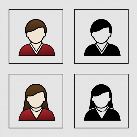 male female avatar icons - user, member - illustration Stock Vector - 19506170