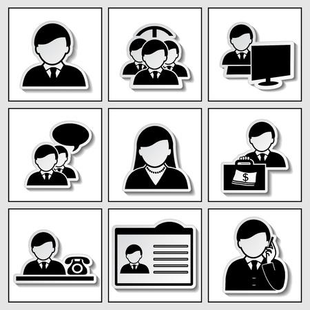 user profile: human icons - businessman, community - illustration