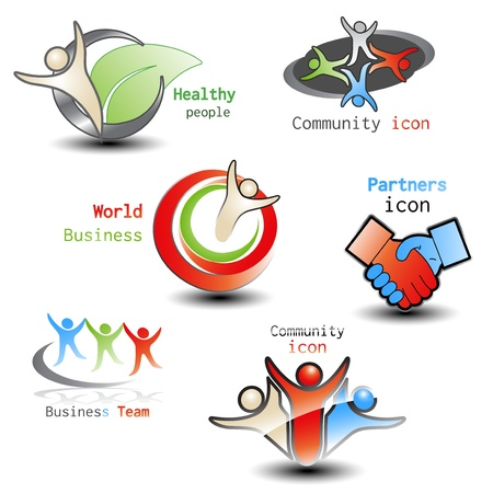 human icons - community, business - illustration Vector