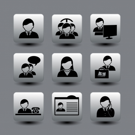 human buttons - businessman, community - illustration Vector