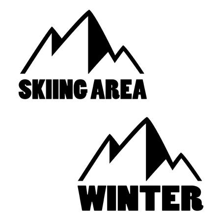 스키: 산의 상징 - 스키장의 기호, 겨울 - 그림 일러스트