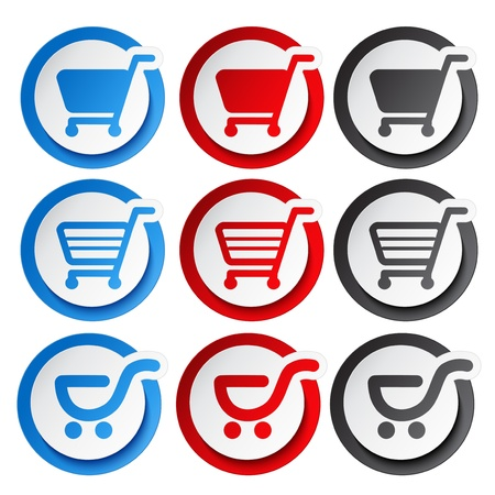 add to shopping cart icon: Vector sticker, shopping cart, trolley, item, button - illustration