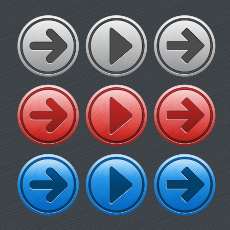 Vector color glossy buttons with arrows - illustration Vector