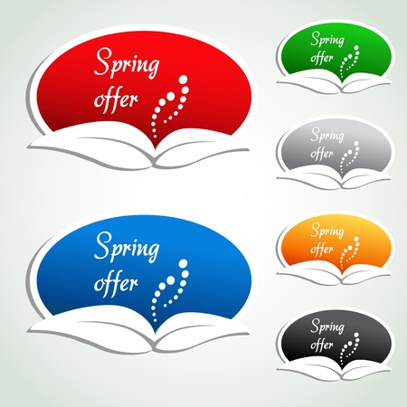 hot announcement: spring offer labels - oval stickers - illustration