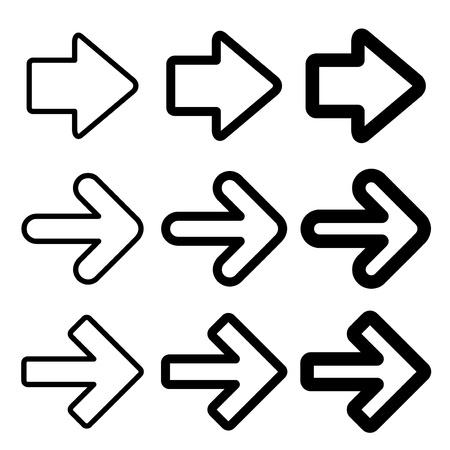 dart series: black arrow silhouettes - illustration Illustration