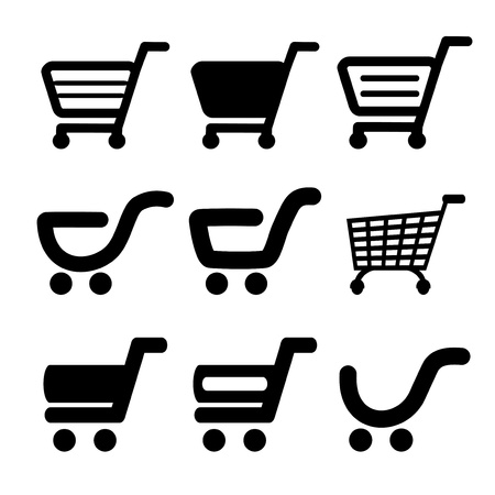 e commerce icon: Vector black simple shopping cart, trolley, item, button - illustration