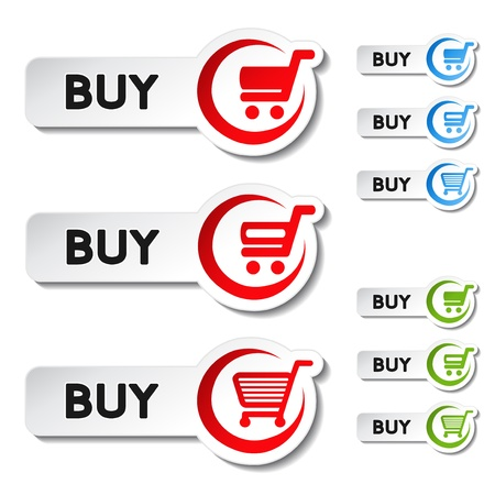 buy button: shopping cart item, trolley, buy button - illustration