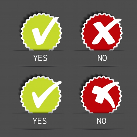 proceed: Vector yes no circular label - check mark symbol - illustration Illustration