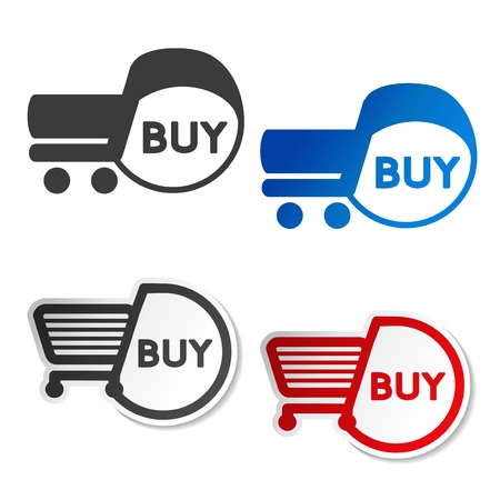 Vector shopping cart item, trolley, buy button - illustration Stock Vector - 19506157
