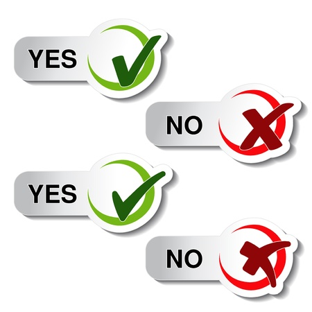 approved button: yes no button - check mark symbol - illustration