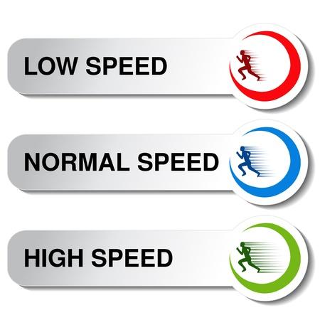 Taste der Geschwindigkeit - niedrig, normal, hoch - Illustration