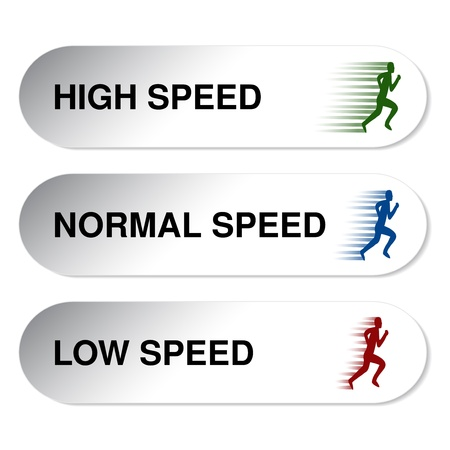 slow: button of speed - low, normal, high - illustration Illustration