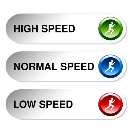slow down: button of speed - low, normal, high - illustration Illustration