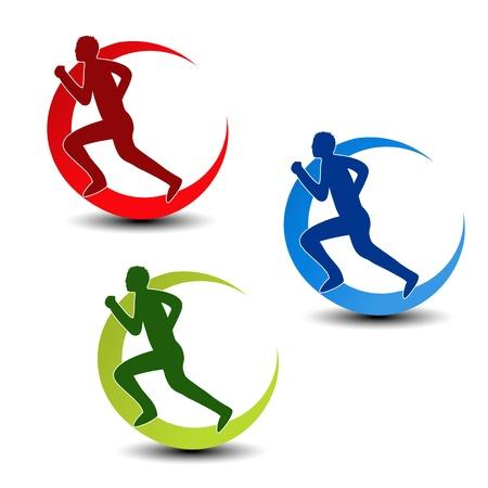 フィットネス - ランナー シルエット - イラストの円形のシンボル