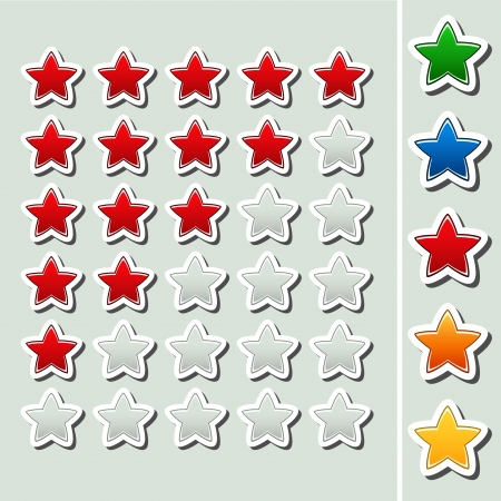 Vector shiny rating stars - five various color - illustration Vector