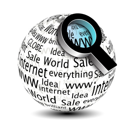 reflection internet: search icon - globe with magnifier - illustration Illustration