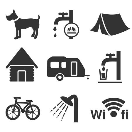 obóz: ikony kempingowe - ilustracja