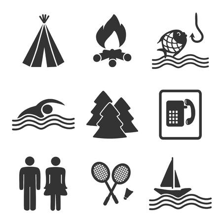 simbolo uomo donna: campeggio icone - illustrazione Vettoriali