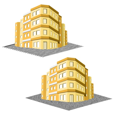 tenement: modern office building, tenement real estate - illustration Illustration