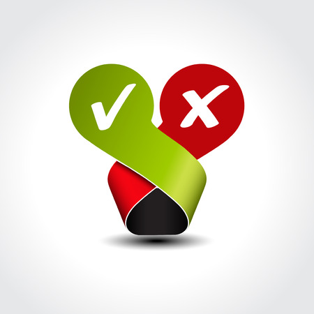 yes no label - check mark symbol illustration Vector