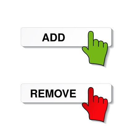 add remove item with cursor of hand - illustration Vector
