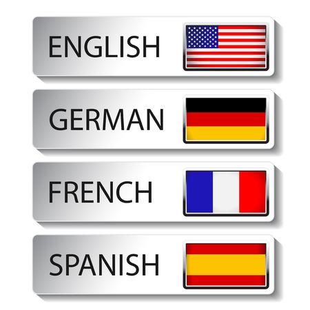 spanish flag:  language pointer for web - illustration