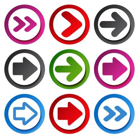 dart series: Vector color arrow  - circular buttons  illustration