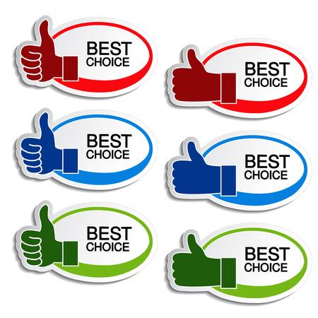 beste keuze ovale stickers met gebaar hand - illustratie Stock Illustratie