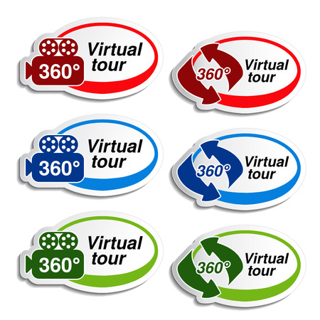 oval stickers for virtual tour - illustration Illustration